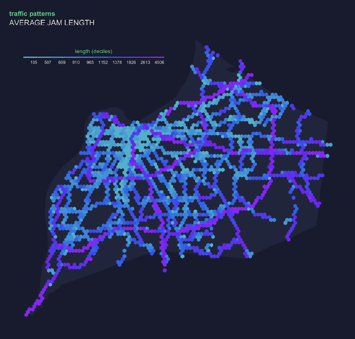 Map of predicted traffic congestion