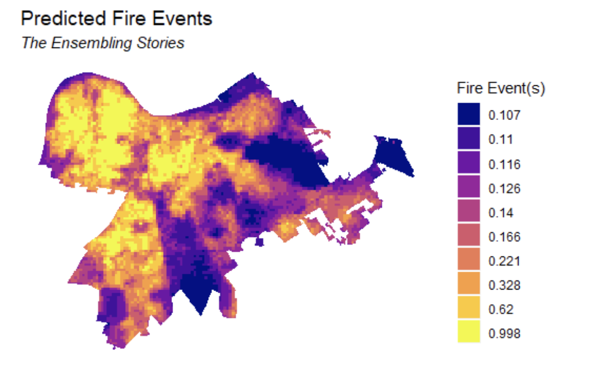Map of predicted fire risk